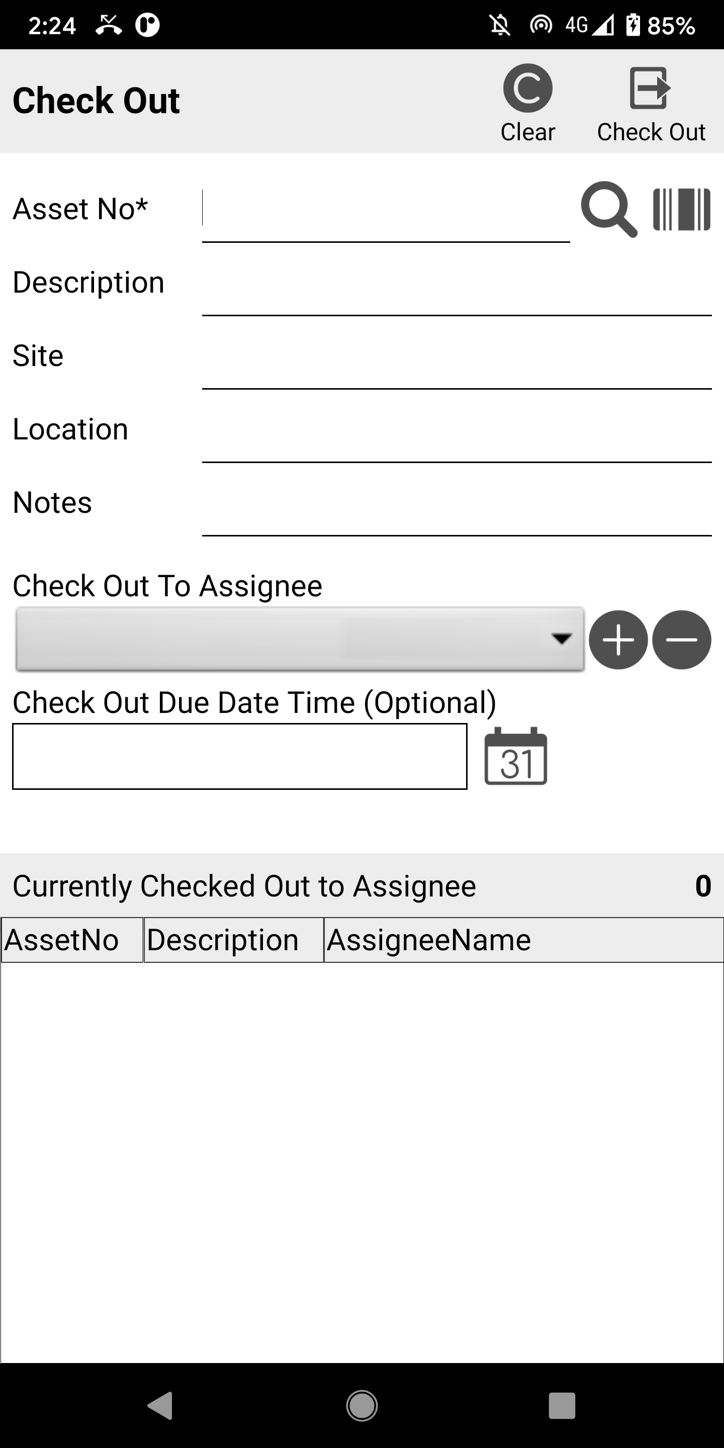 Asset Trail Check Out Screen